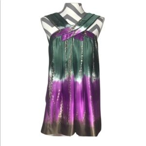 BCBGMAXZRIA Silk Purple & Green Tie Dye Top S